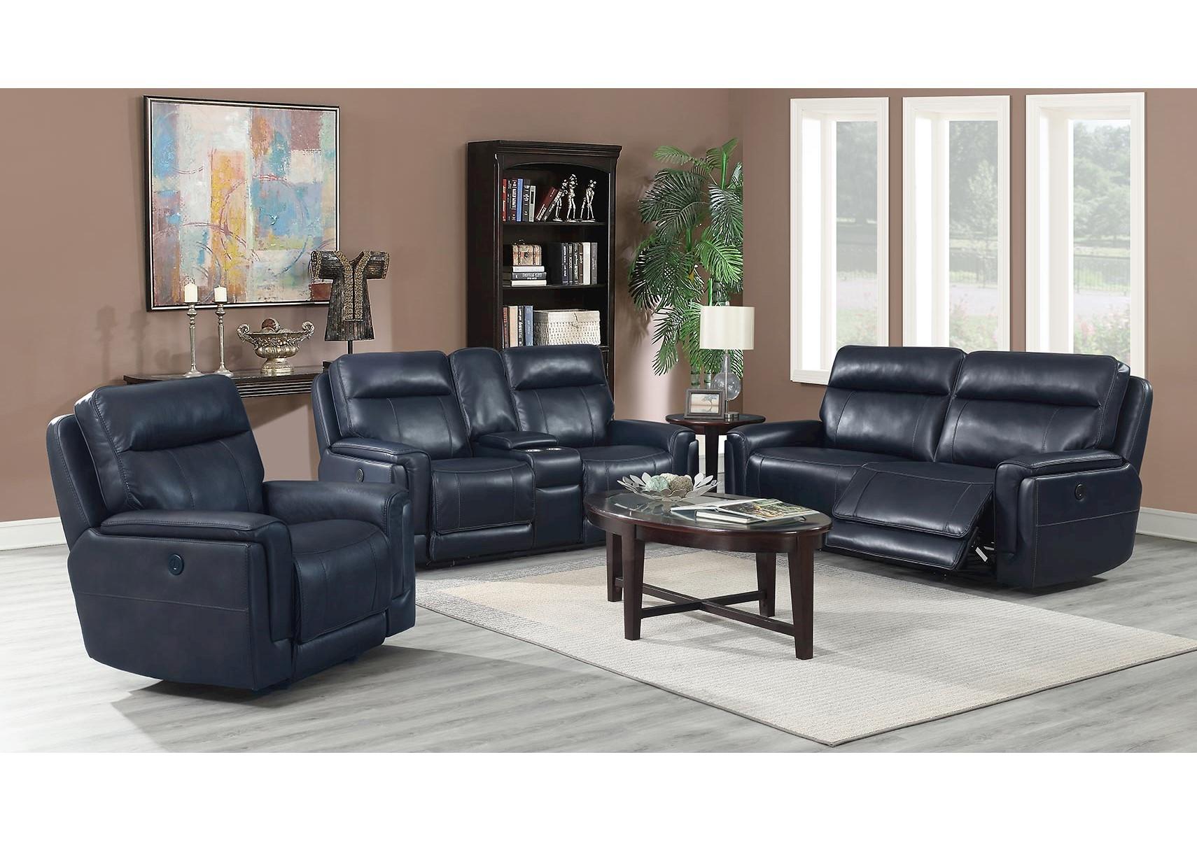Image of: Lacks Terenti Blue 2 Pc Power Reclining Living Room Set