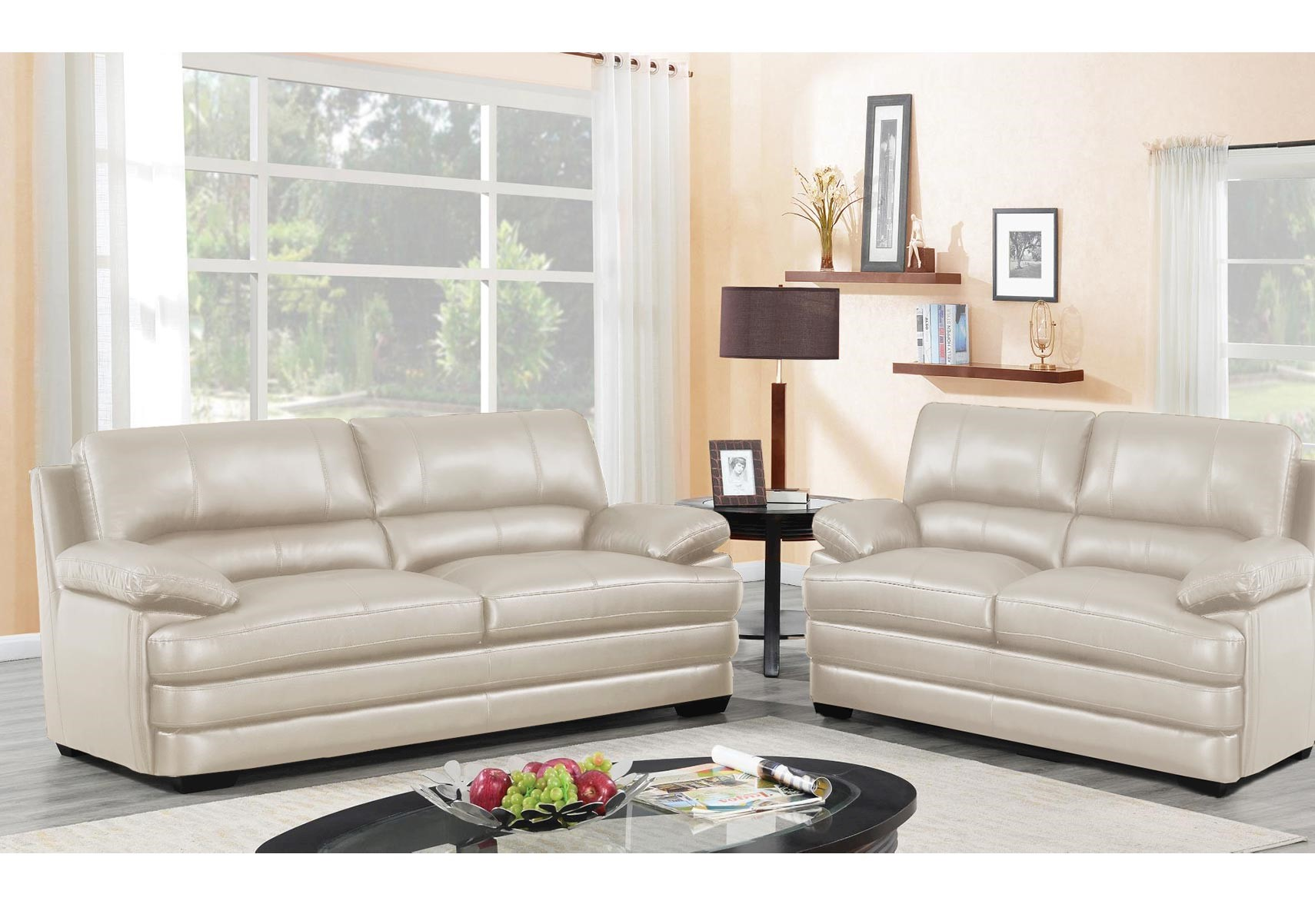 Lacks | Rolland Cream 2-Pc Leather-Match Living Room Set