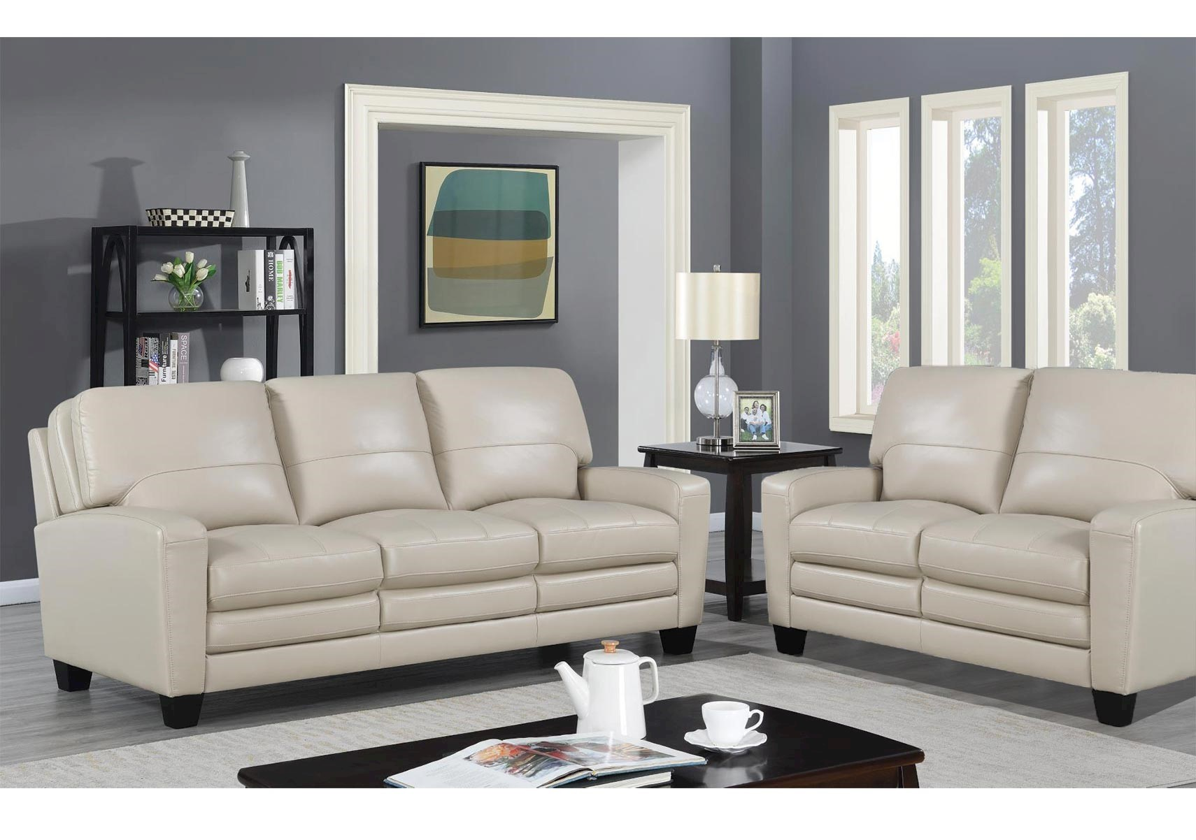 Lacks | Anjou Cream 2-Pc Leather-Match Living Room Set