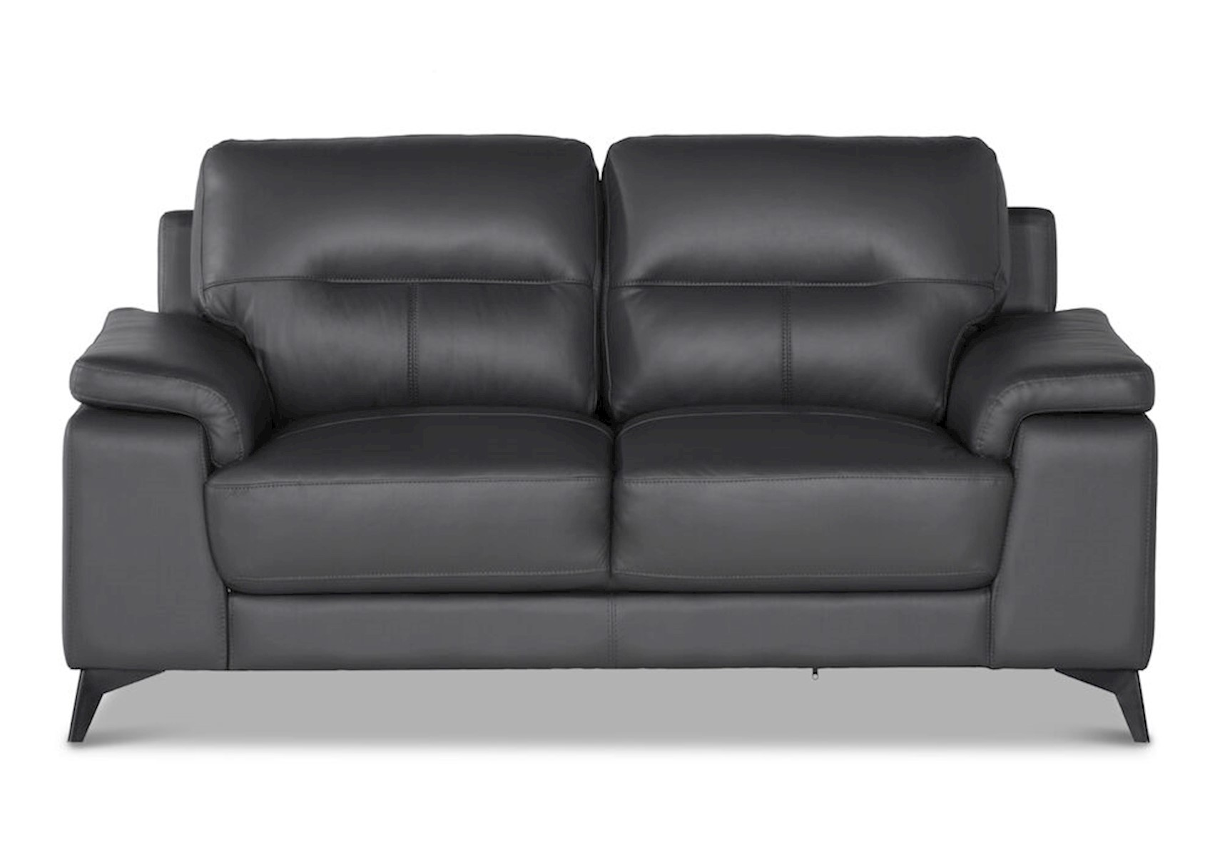 Picture of: Lacks Toledo Dark Gray Leather Loveseat