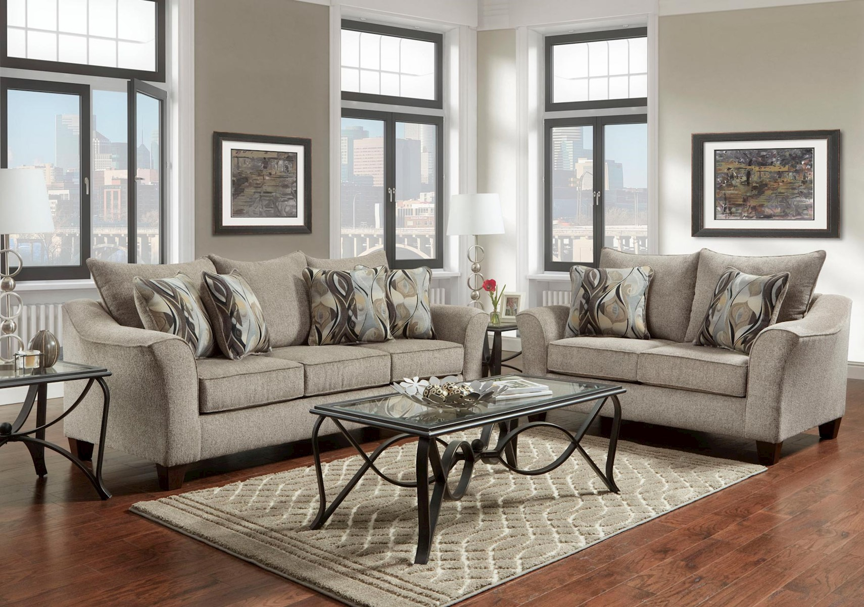 Miraculous Lacks Camero Platinum 2 Pc Living Room Set Home Interior And Landscaping Ponolsignezvosmurscom