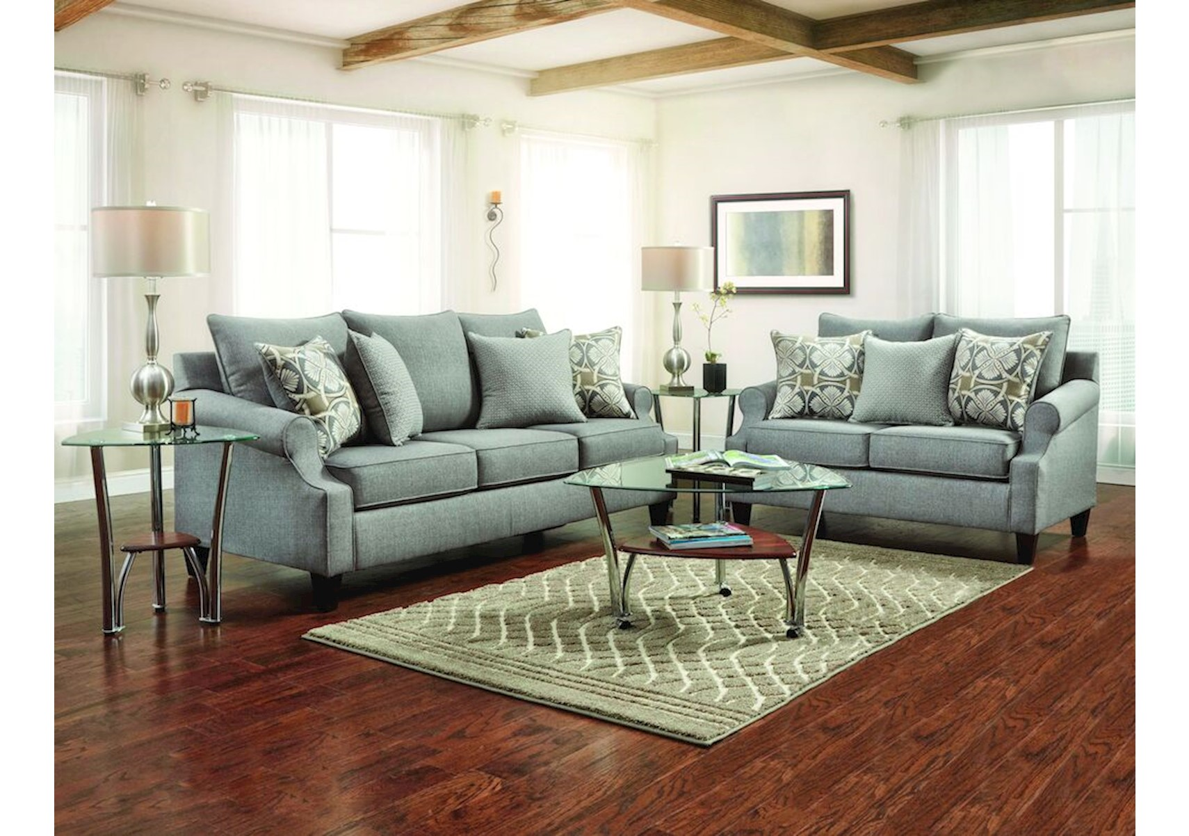 Charming Harper Gray 2 Pc Living Room Set
