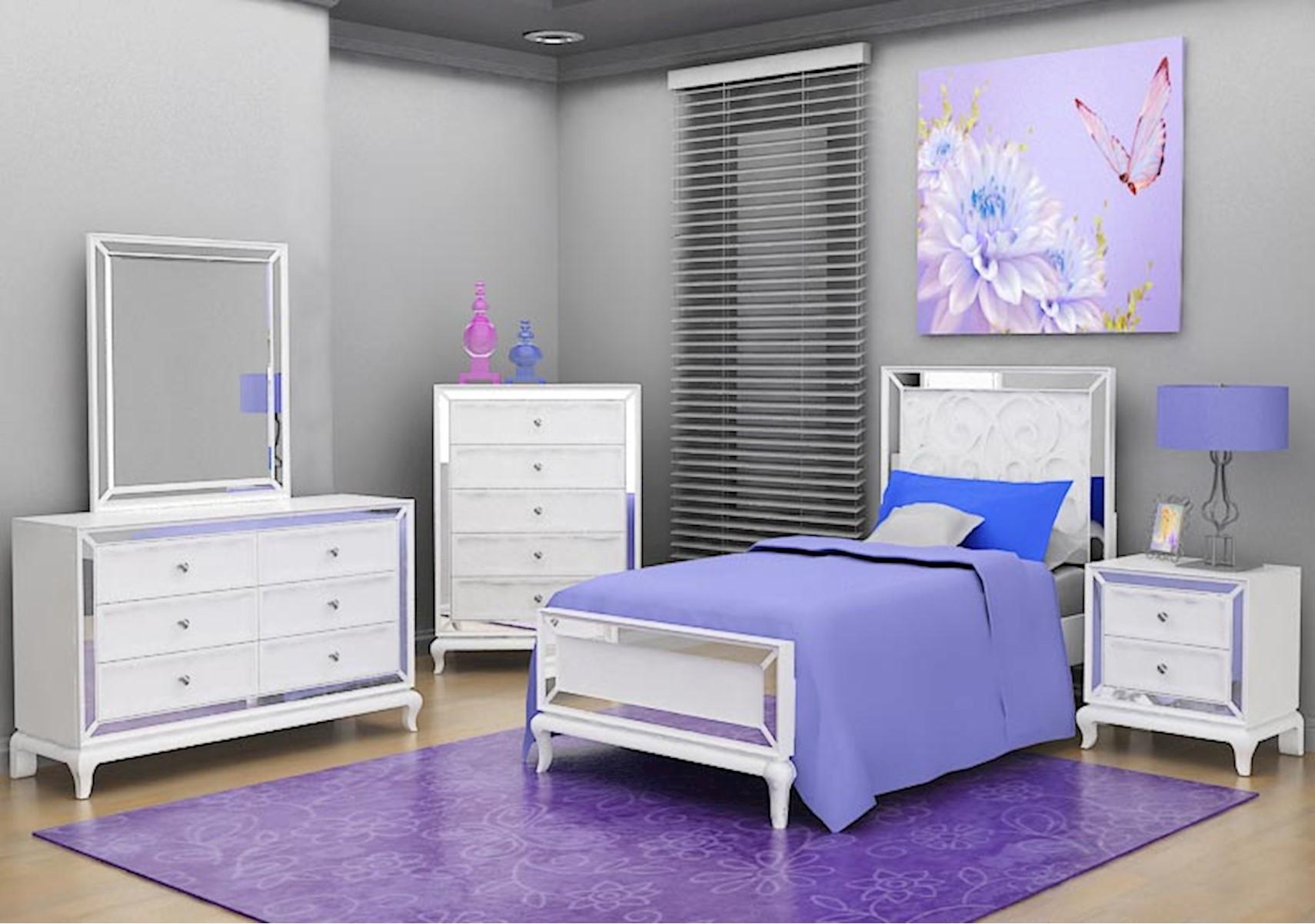 Lacks | Uptown 4-Pc Twin Kids Bedroom Set in White