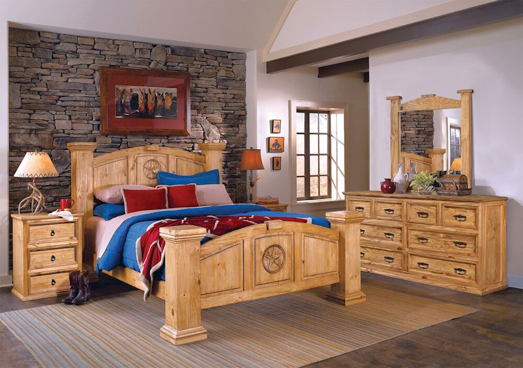 Lacks Texas Rustic 4 Pc King Bedroom Set