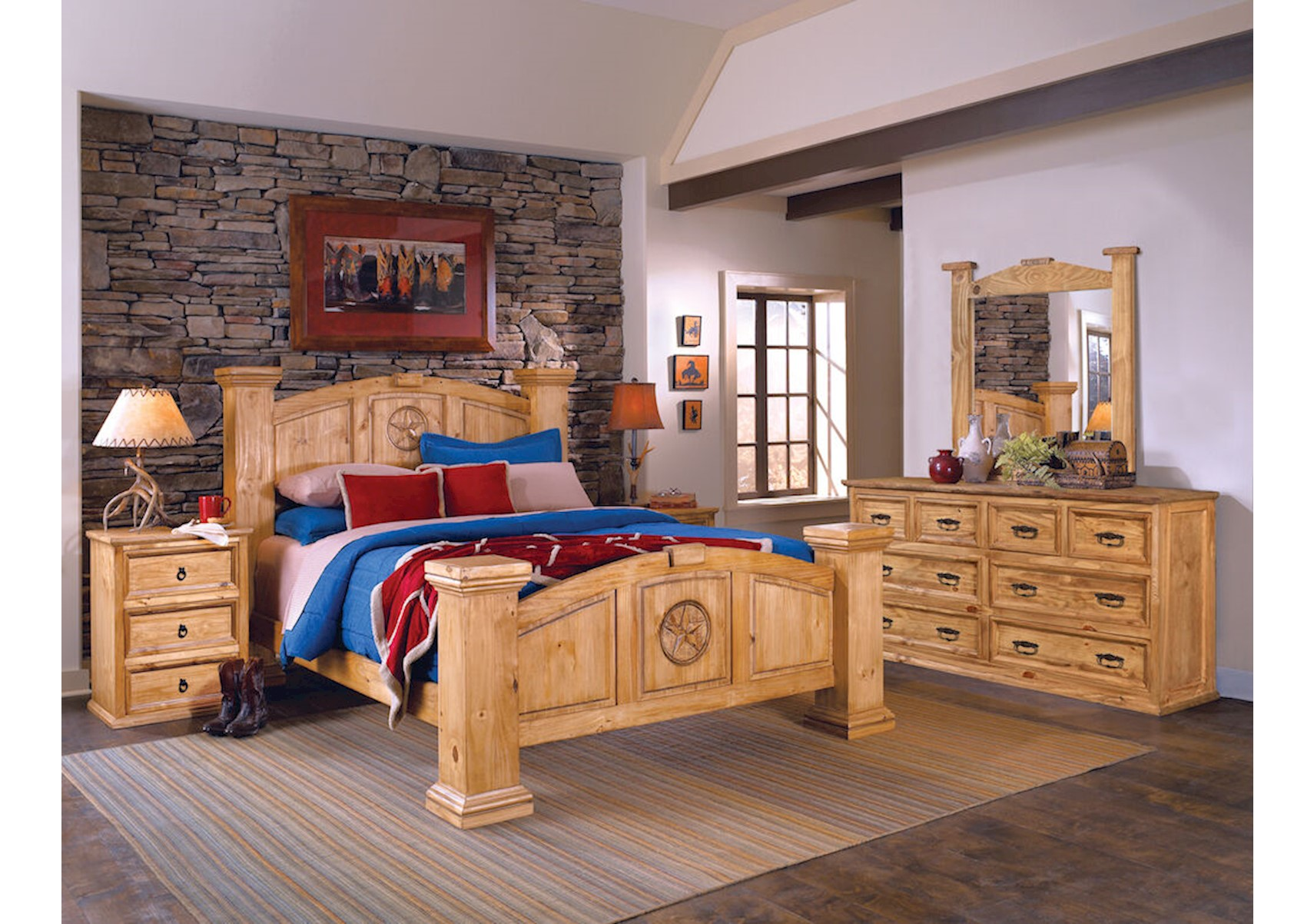 Lacks Texas Rustic 4 Pc Queen Bedroom Set