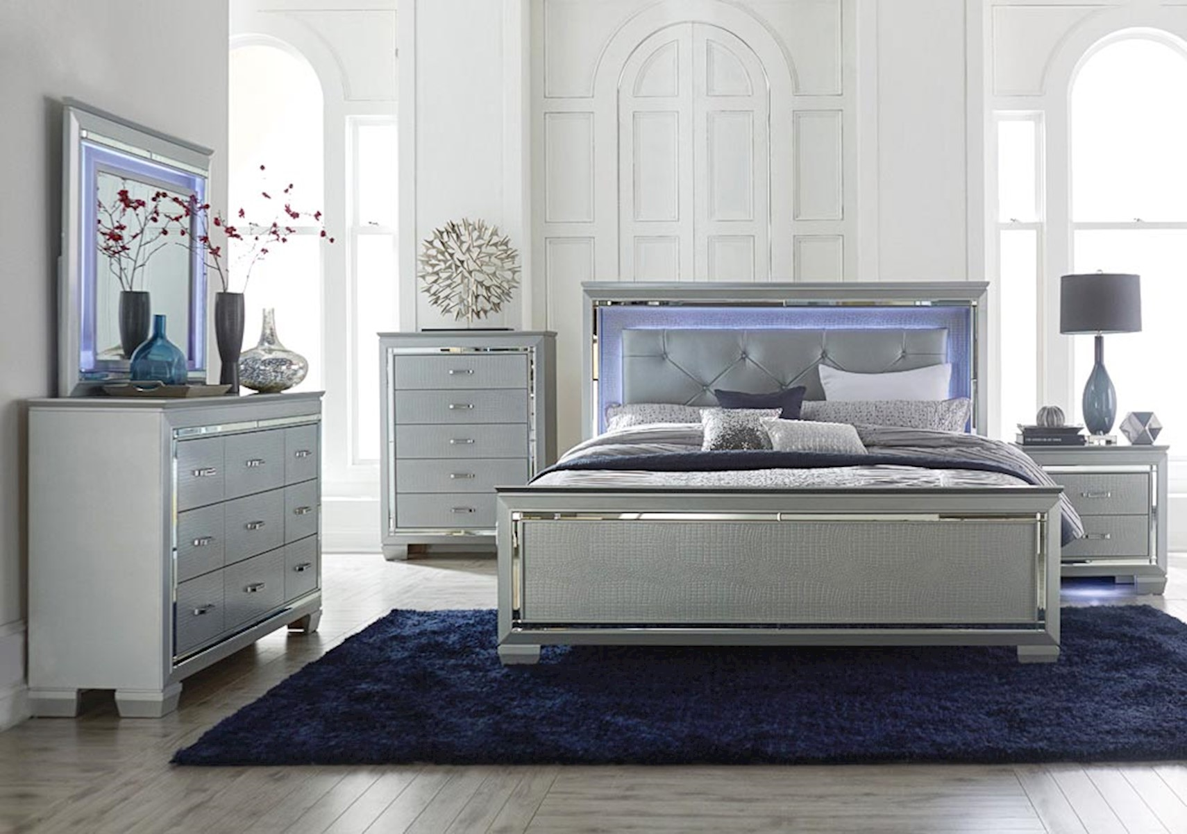 Lacks | Allura Silver 4-Pc Queen Bedroom Set