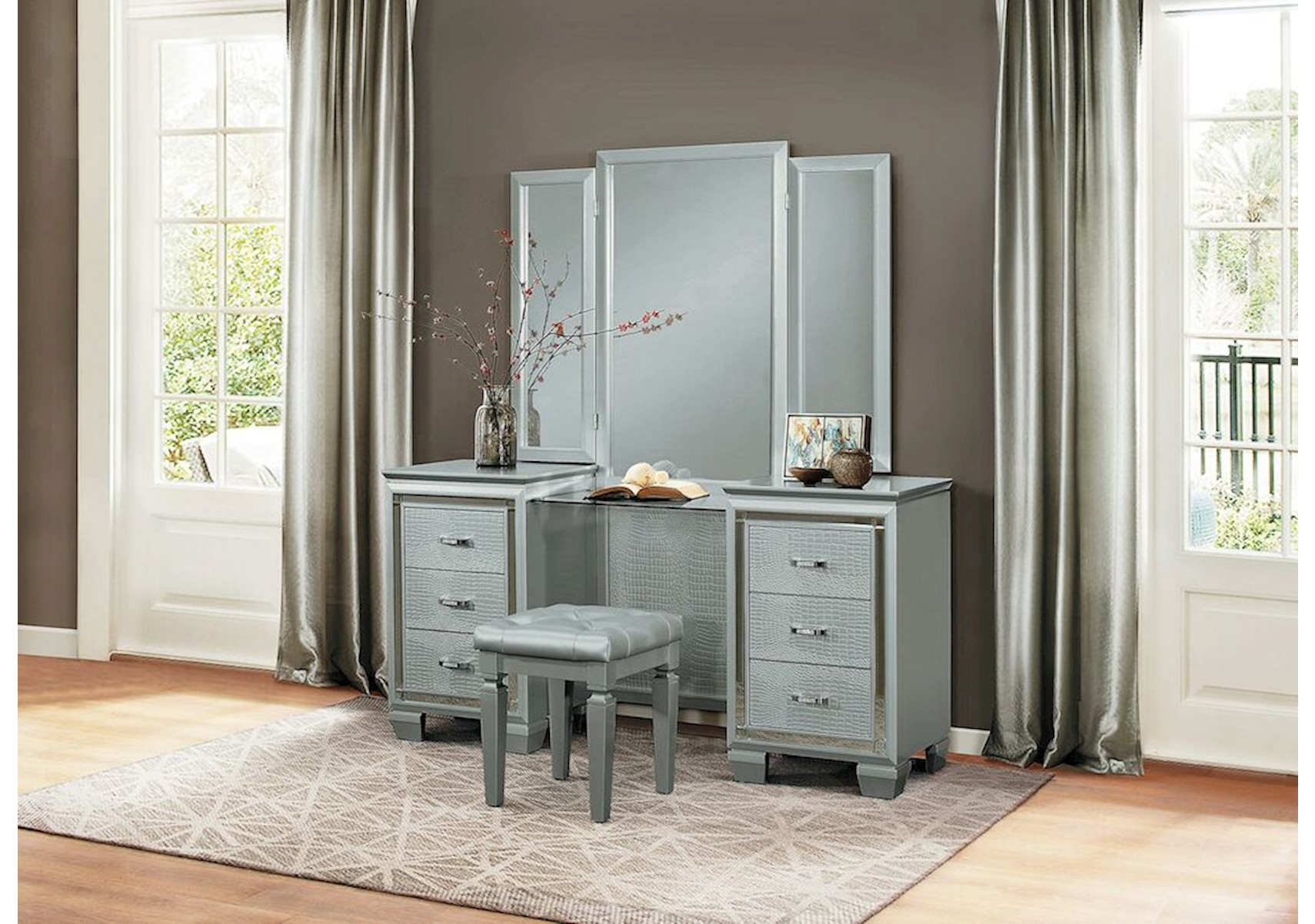Allura Silver Vanity Set. Bedroom U003e Bedroom Furniture. Share This Product: X