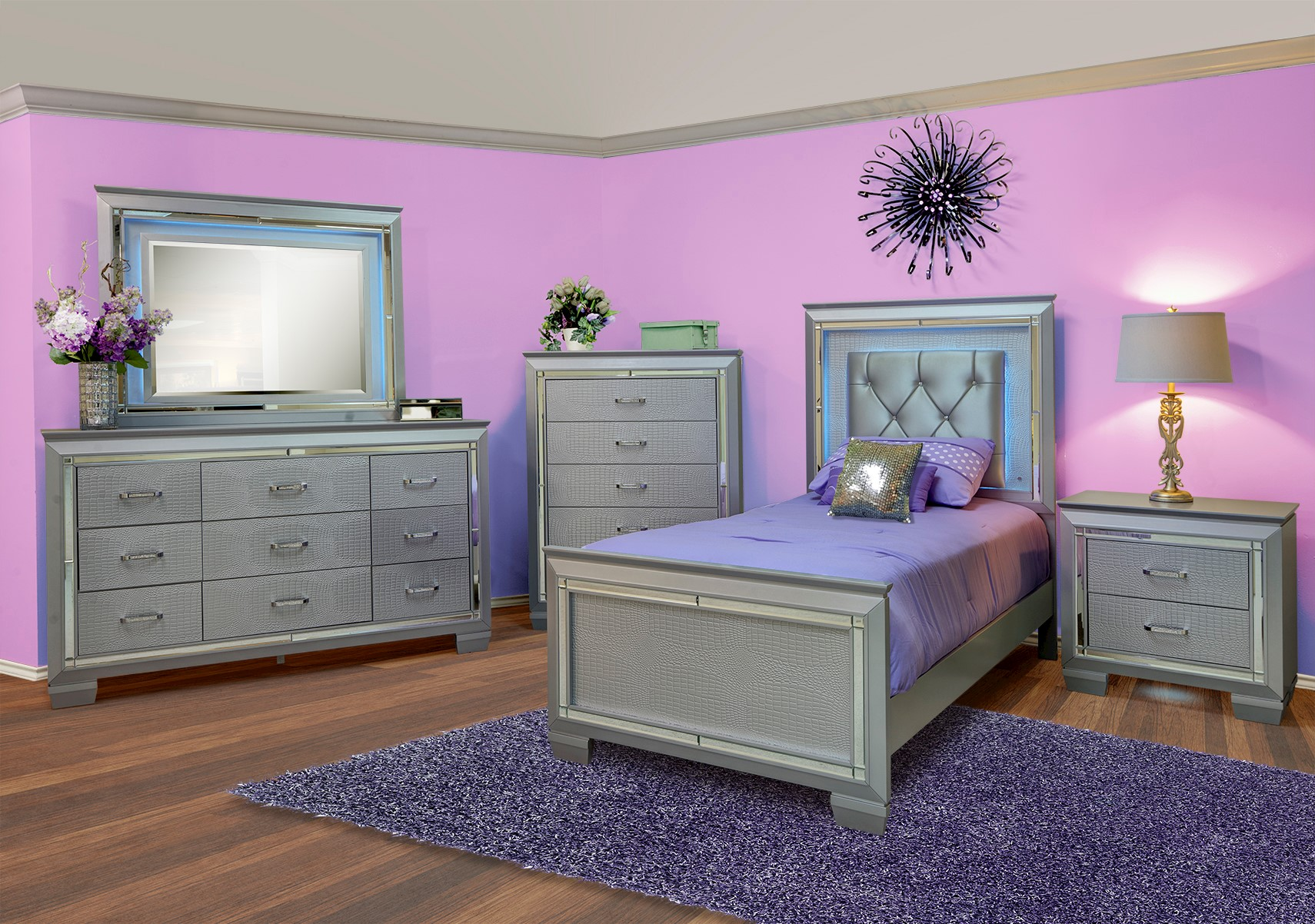Lacks | Allura Silver 4-Pc Twin Bedroom Set