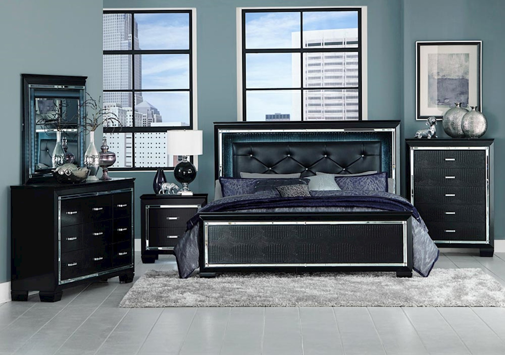Lacks | Allura Black 4-Pc Queen Bedroom Set