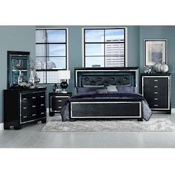 Allura Black 4 Pc King Bedroom Set