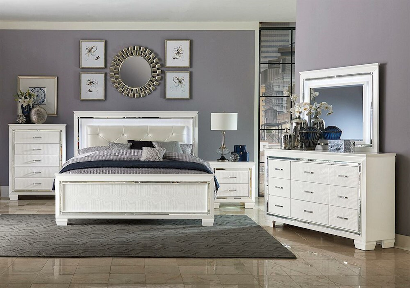 Lacks  Allura White 12-Pc Queen Bedroom Set