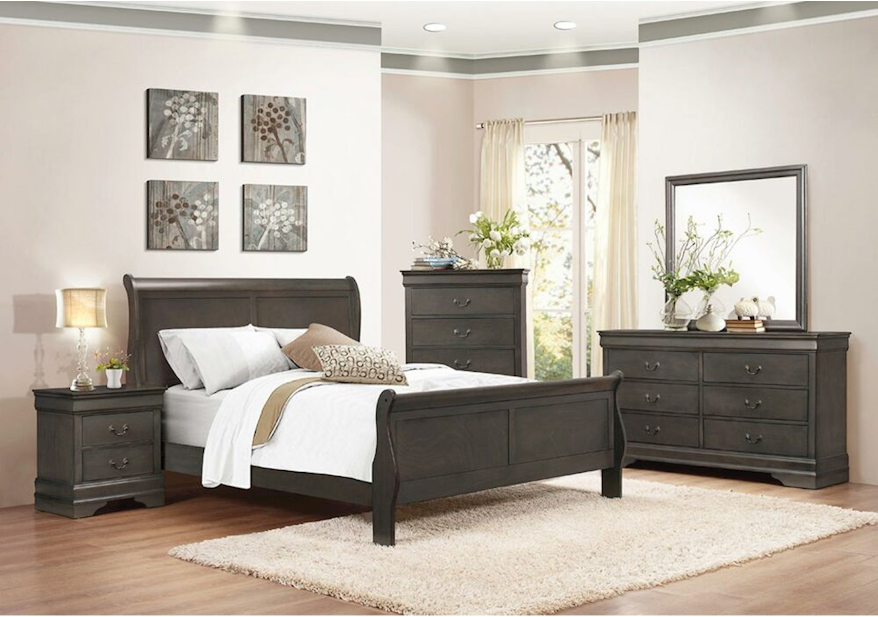 Lacks | Mayville Gray 4-Pc Full Bedroom Set