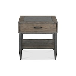River Loft End Table With Blue Stone Top