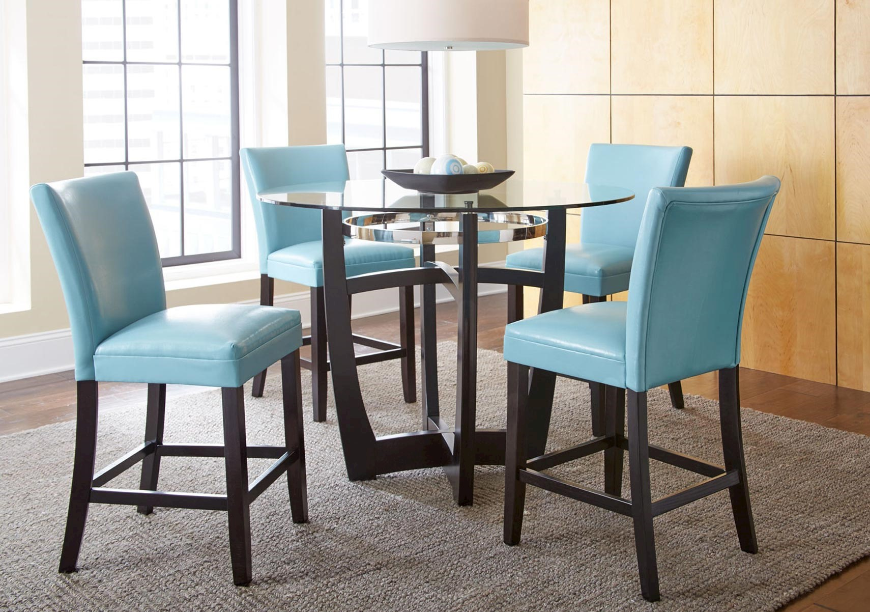 Lacks | Matinee Aqua 5-Pc Counter Height Dining Set