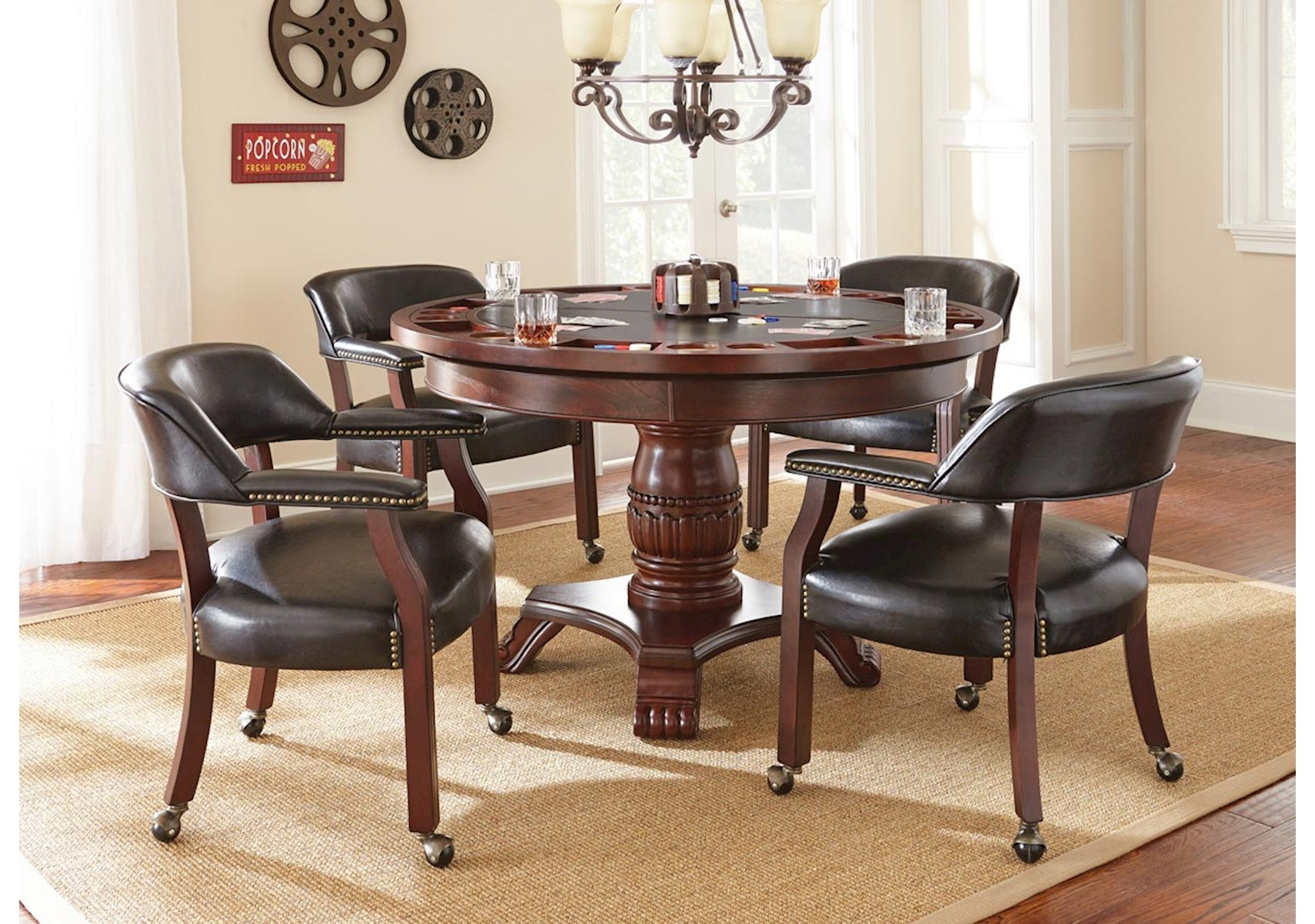 Tournament 6 Pc Convertible Game Table Set