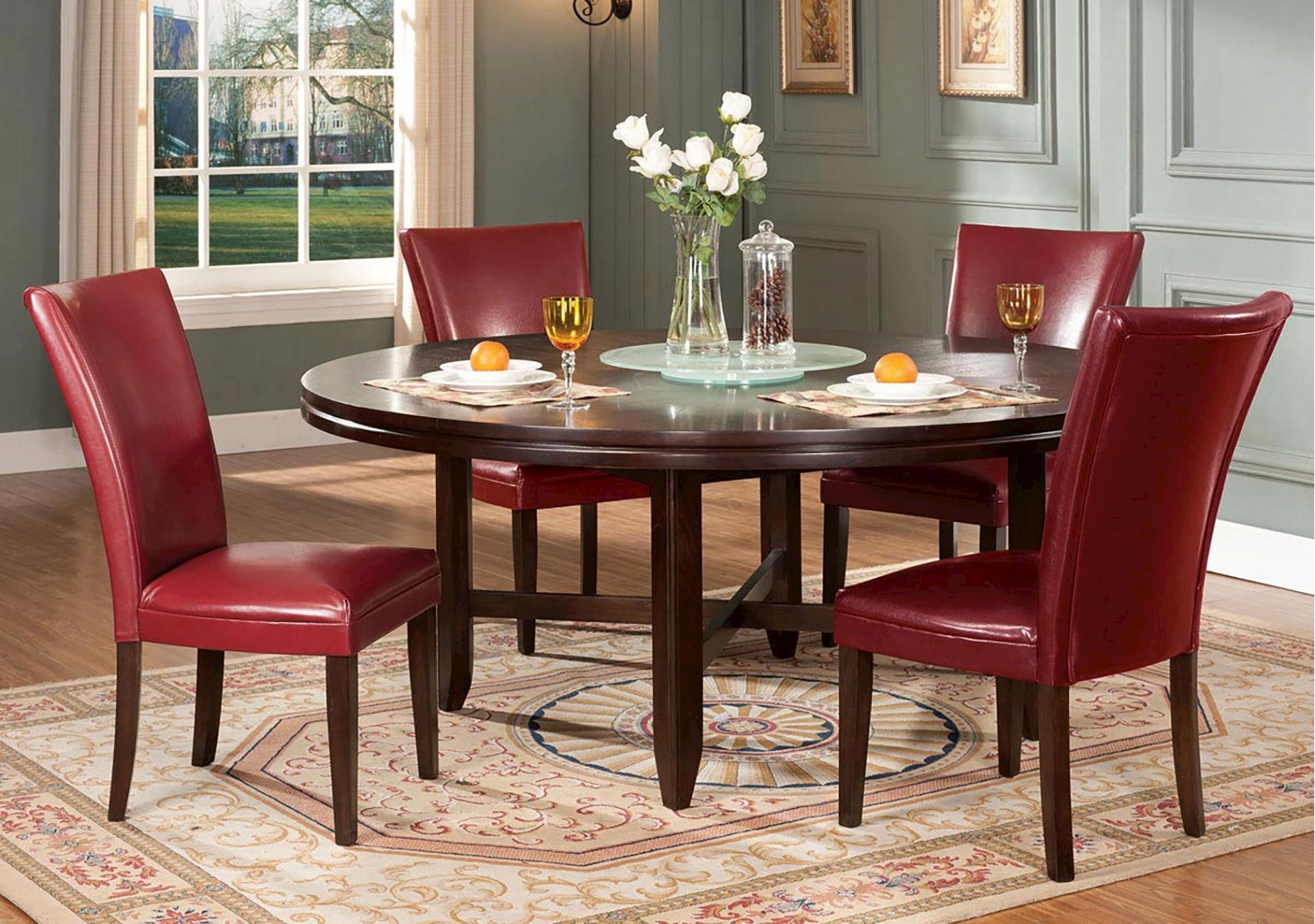 Hartford 8 Pc Red Dining Set