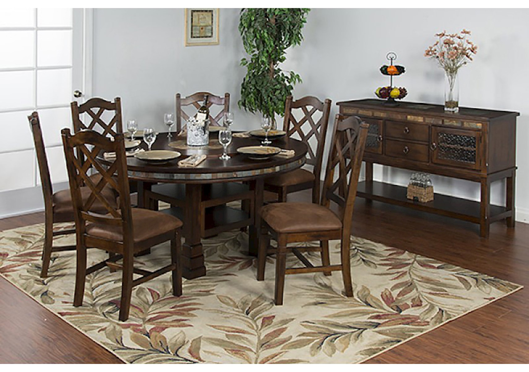 Lacks | Santa Fe 7 Pc Round Table Dining Set