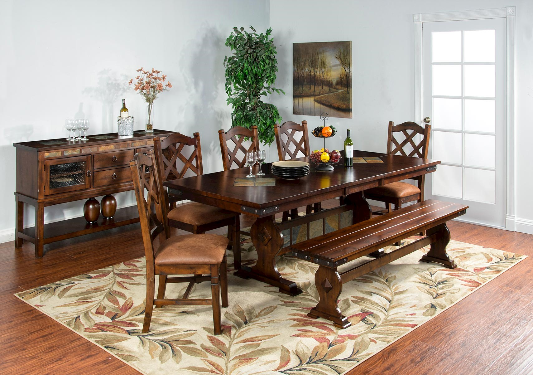 Santa Fe 6 Pc Trestle Table Dining Set