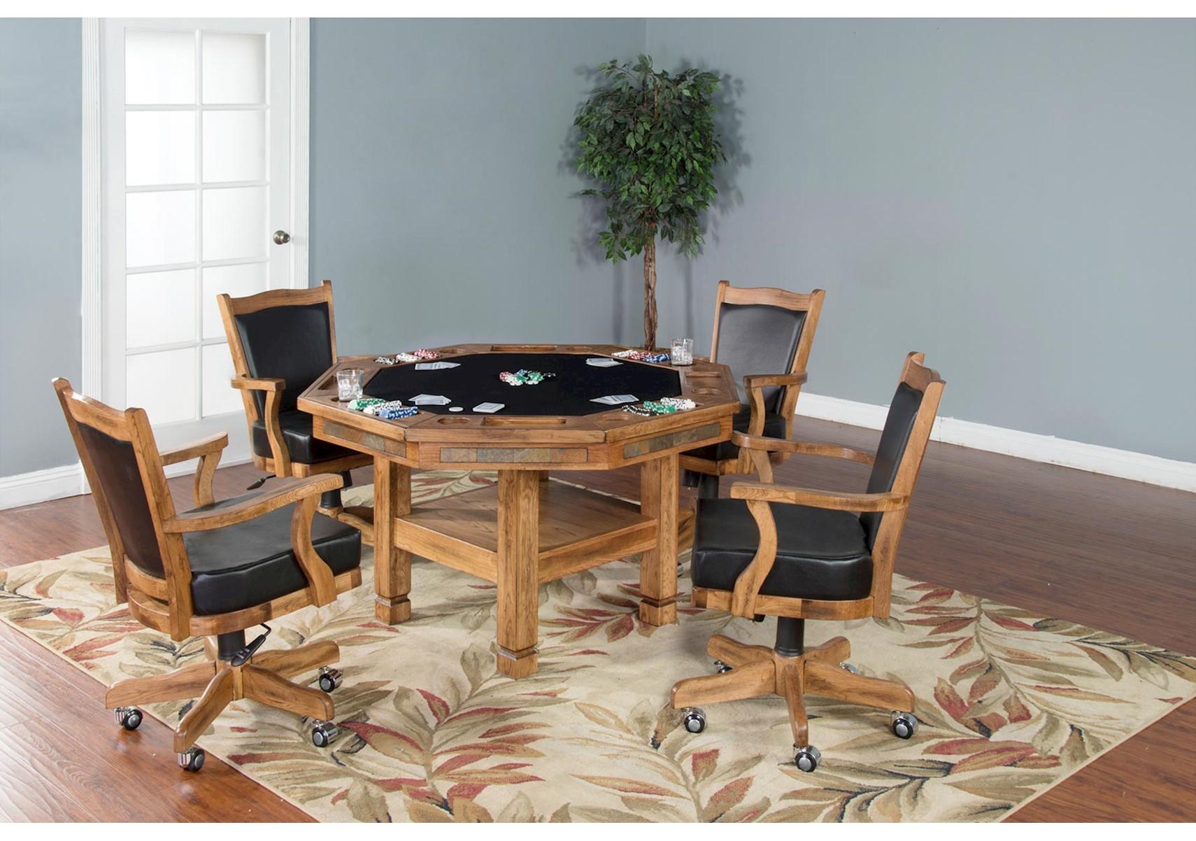 Lacks   Santa Fe 5 Pc Game Table Set Rustic Brown